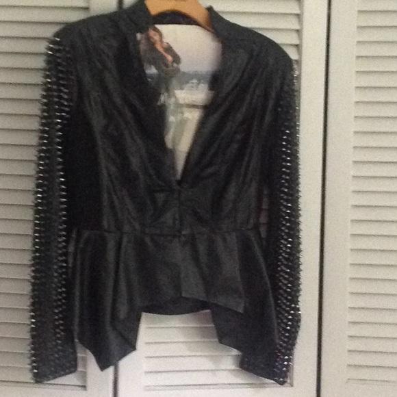 bebe Jackets & Blazers - Black lamb leather jacket with studded sleeves